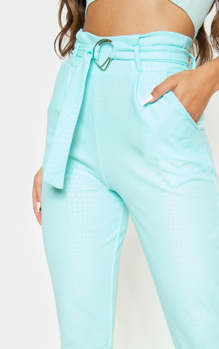 Mint Croc Print D Ring Belted Skinny Trousers 5
