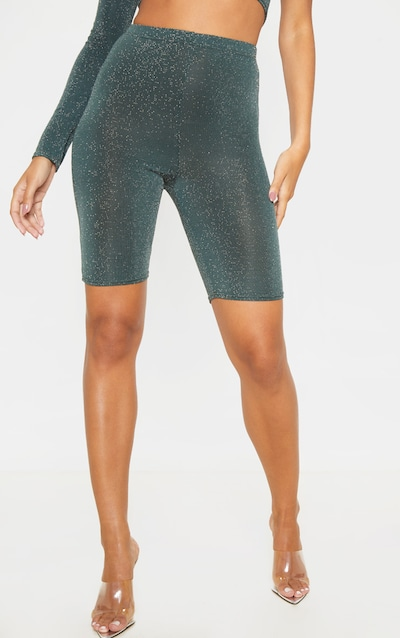Emerald Green Textured Glitter High Waisted Cycle Shorts