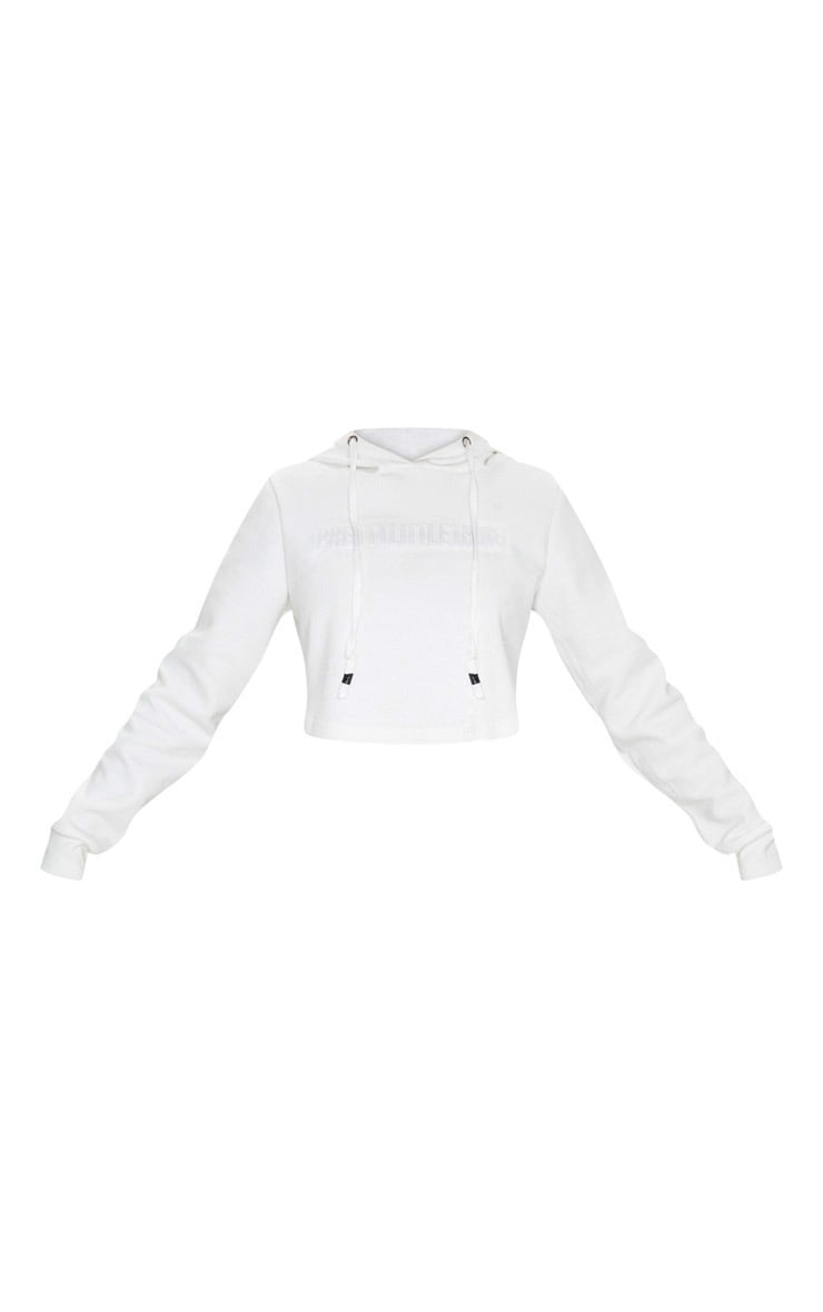 PRETTYLITTLETHING White Embossed Cropped Sports Hoodie 3