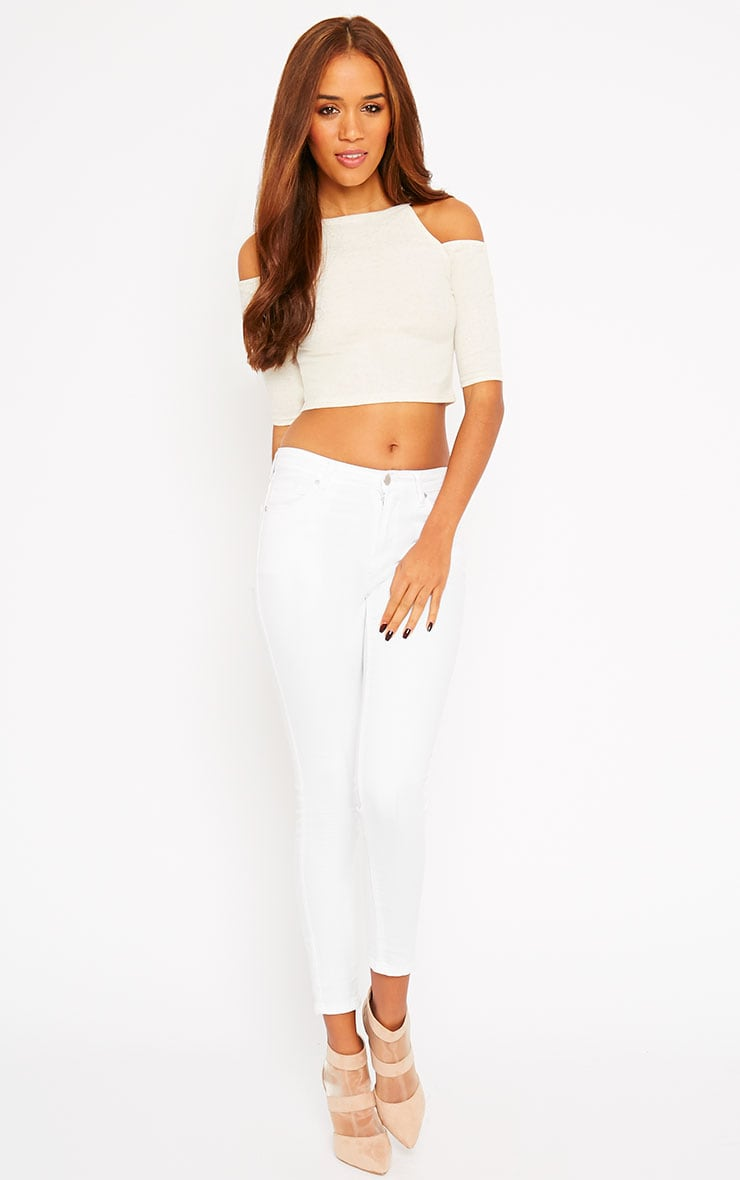 Basic Cream Cut Out Shoulder Crop Top 3