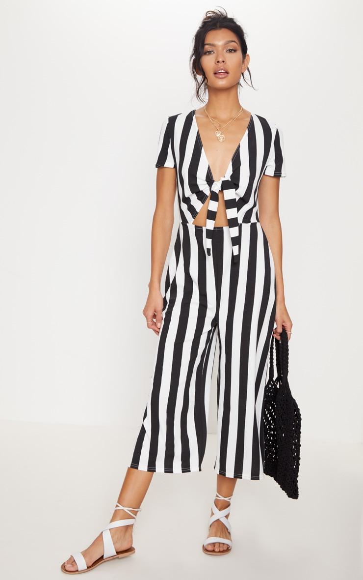 Monochrome Stripe Tie Front Culotte Jumpsuit 1