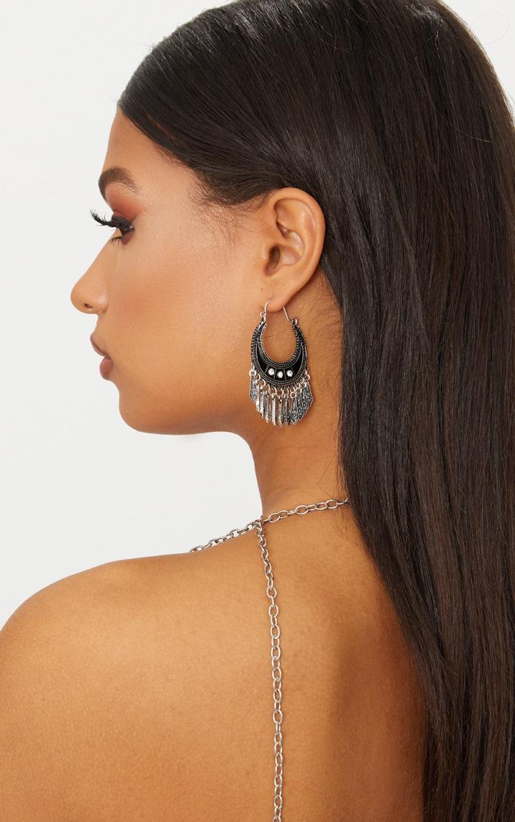 Silver Boho Diamante Tassel Earrings 2
