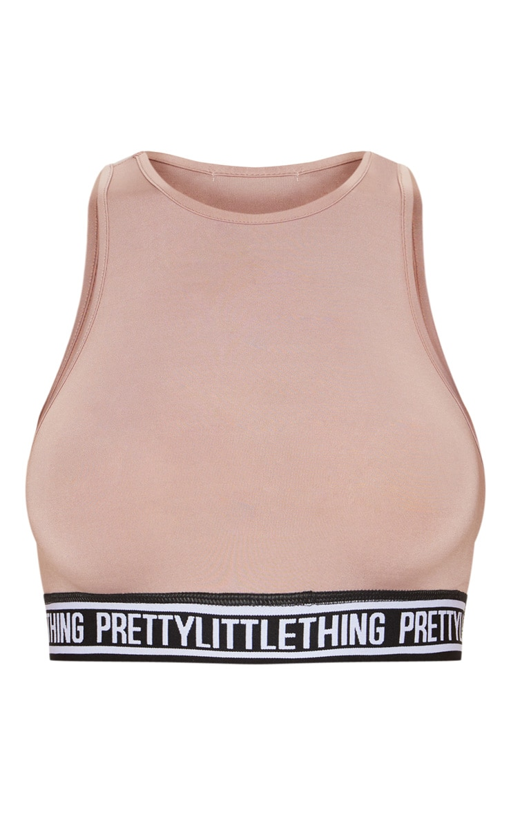 PRETTYLITTLETHING Taupe Racer Neck Sports Crop Top 4