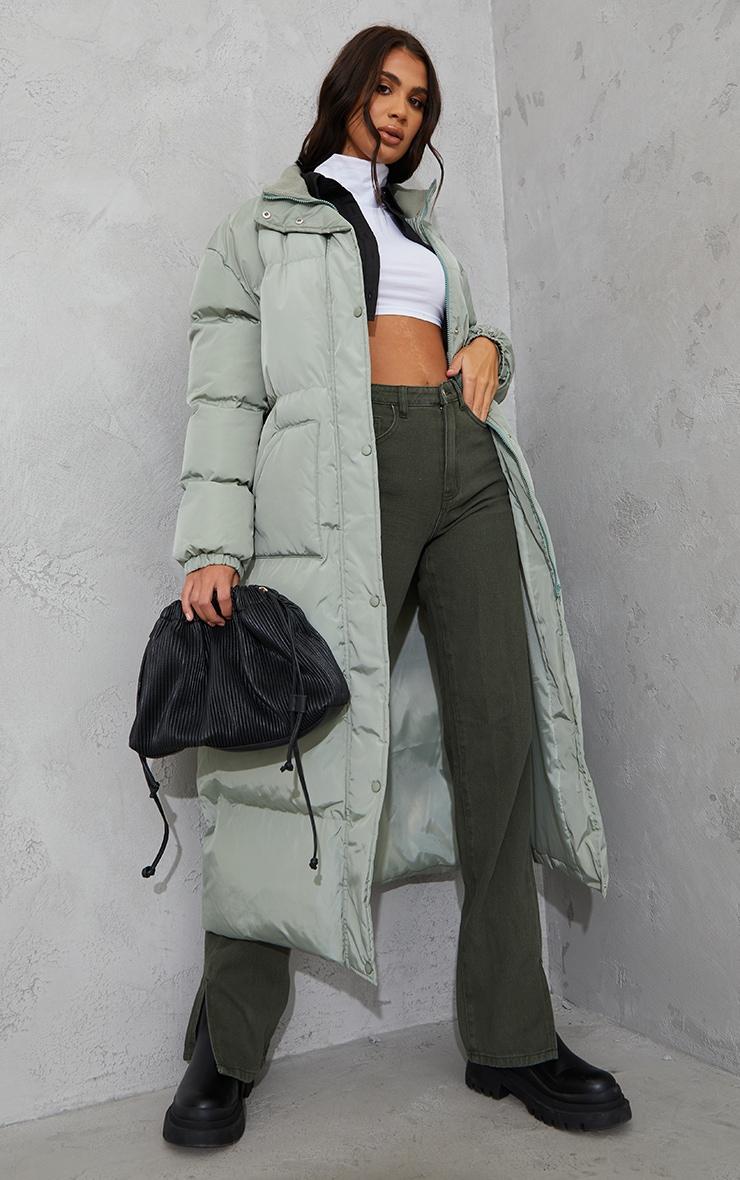 Tall Sage Green Tall Maxi Puffer Coat 1