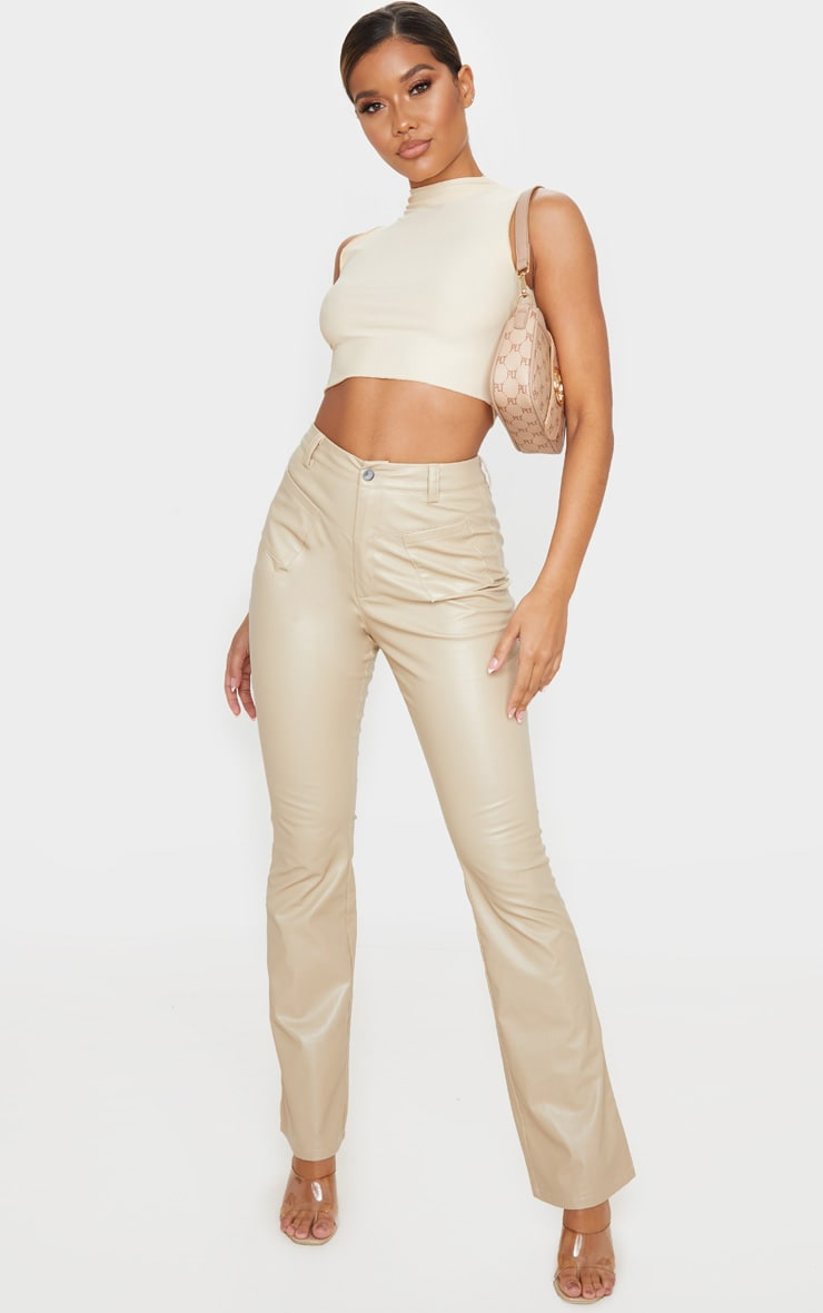 Cream Faux Leather Pocket Detail Straight Pants 1