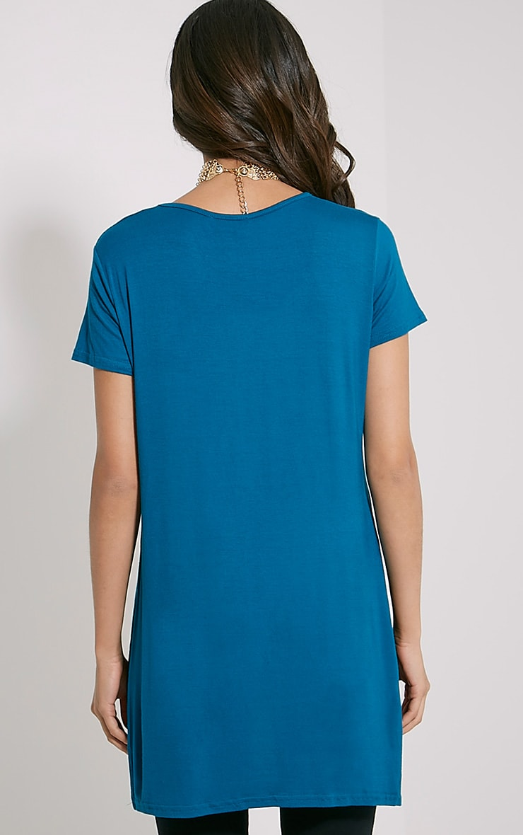 Basic Teal Side Split T-Shirt 2