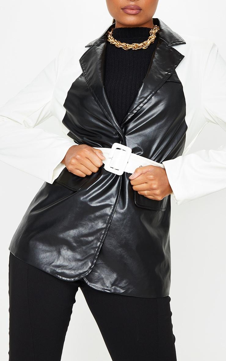 Monochrome PU Contrast Belted Blazer 4