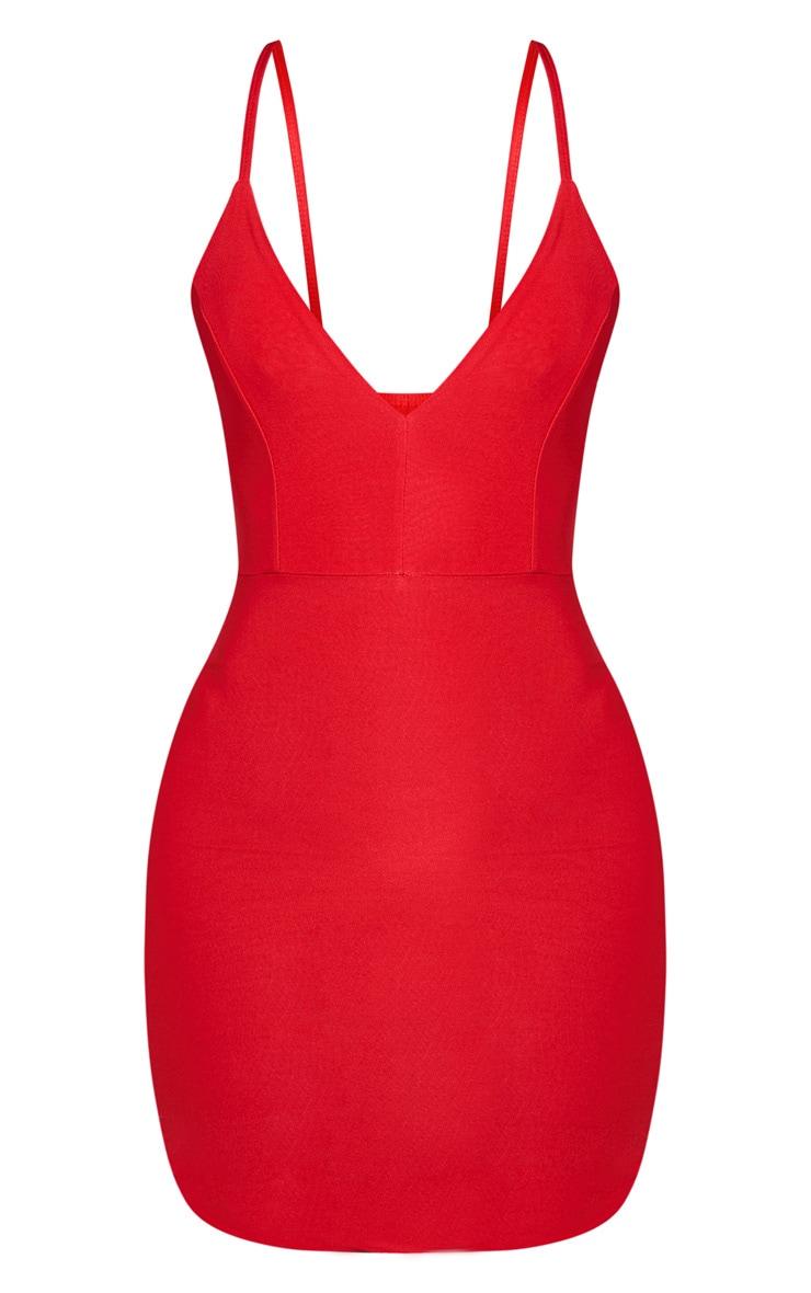 Shape - Robe moulante rouge décolletée à bretelles 4