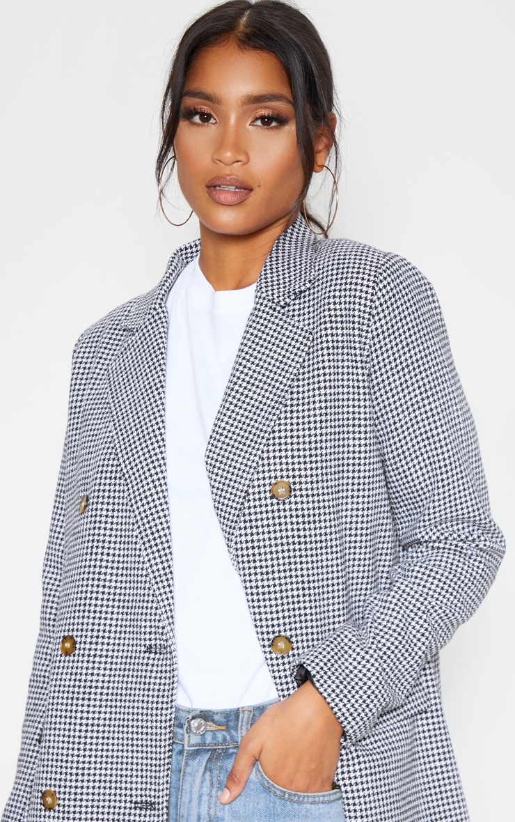 Black Check Print Woven Oversized Blazer 5