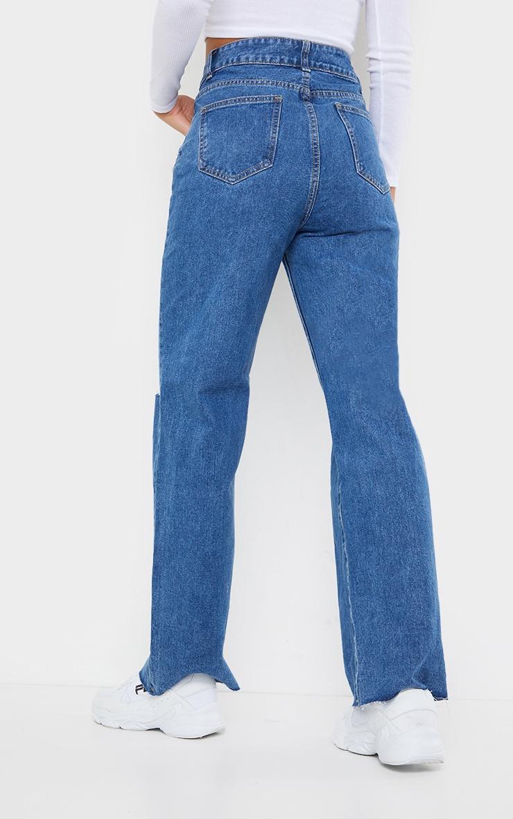 Mid Blue Wash Knee Rip Wide Leg Jean 3