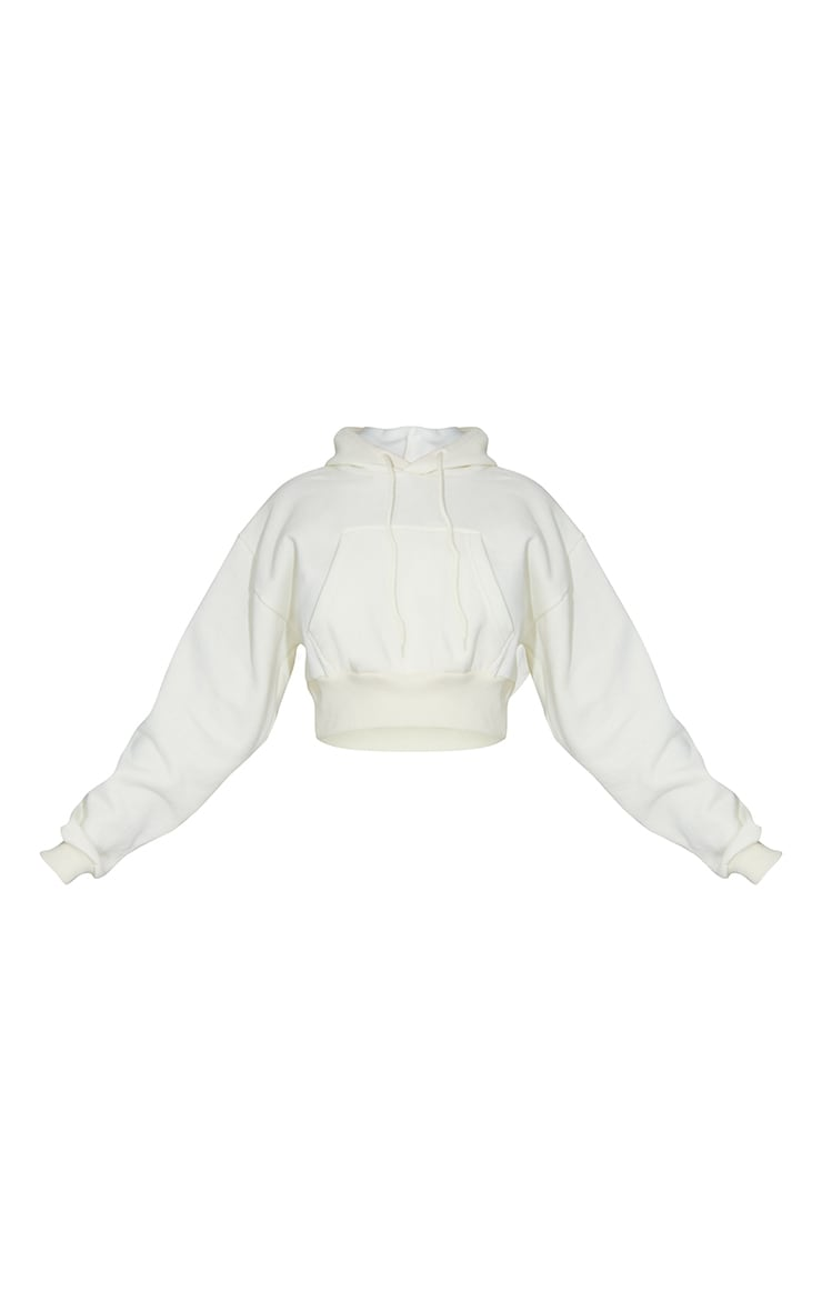Cream Pocket Front Cropped Hoodie 5
