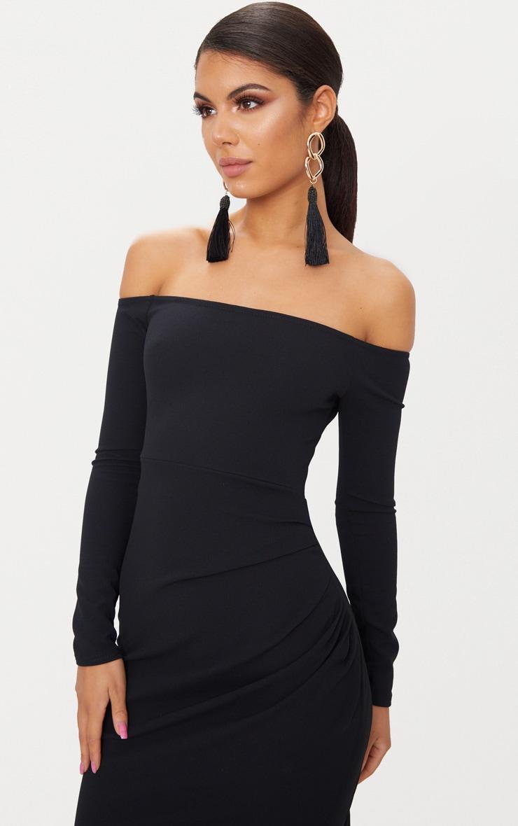 Black Wrap Over Long Sleeve Bardot Maxi Dress 5