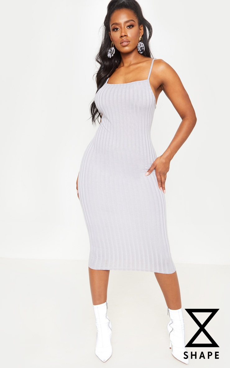 Shape Silver Wide Rib Strappy Midi Dress