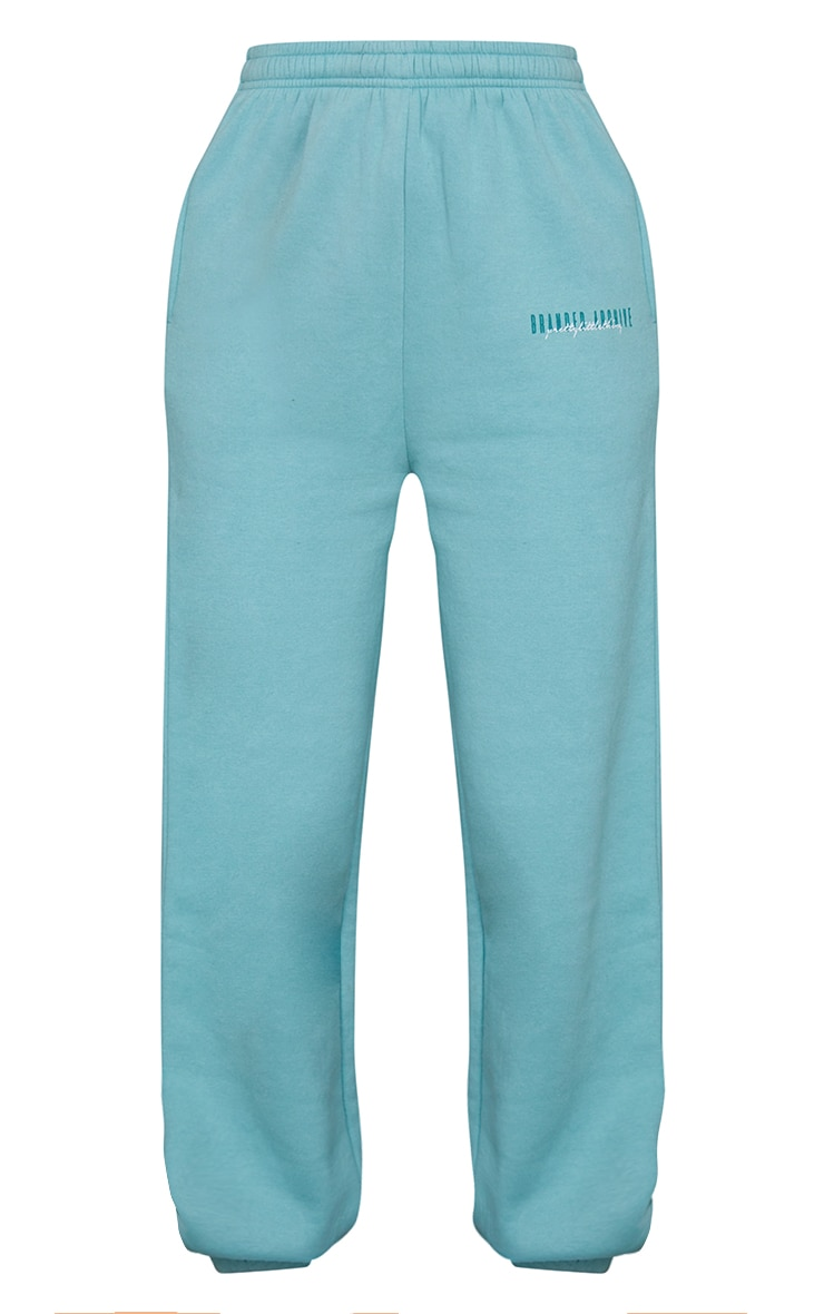 PRETTYLITTLETHING Washed Green Double Logo Joggers 5
