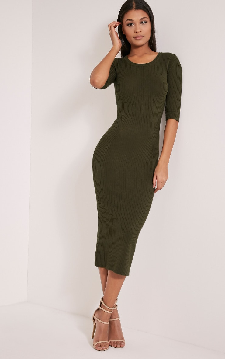 Ailia Khaki Knitted Midi Dress 1
