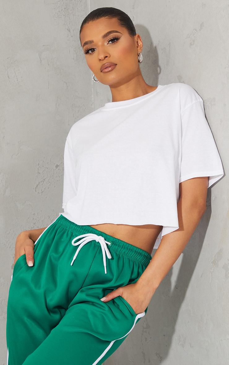 White Los Angeles Graphic Back Print Cropped T Shirt 2