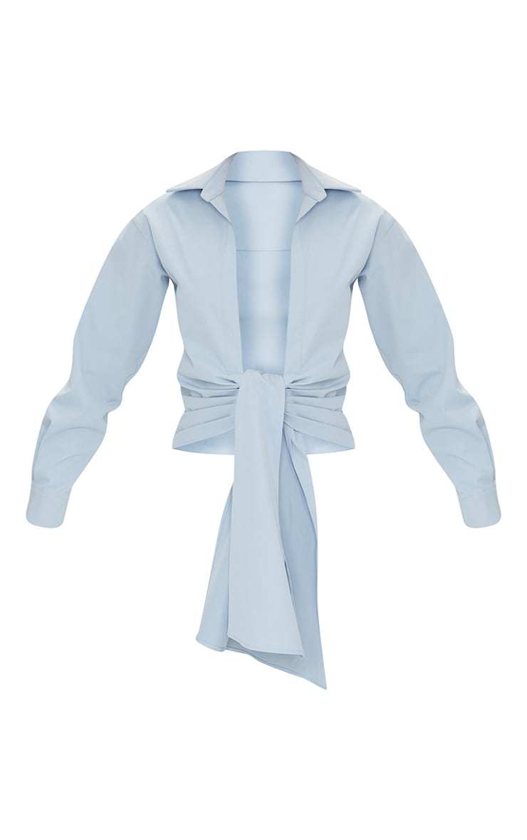 Pastel Blue Woven Ruched Tie Front Plunge Shirt 5