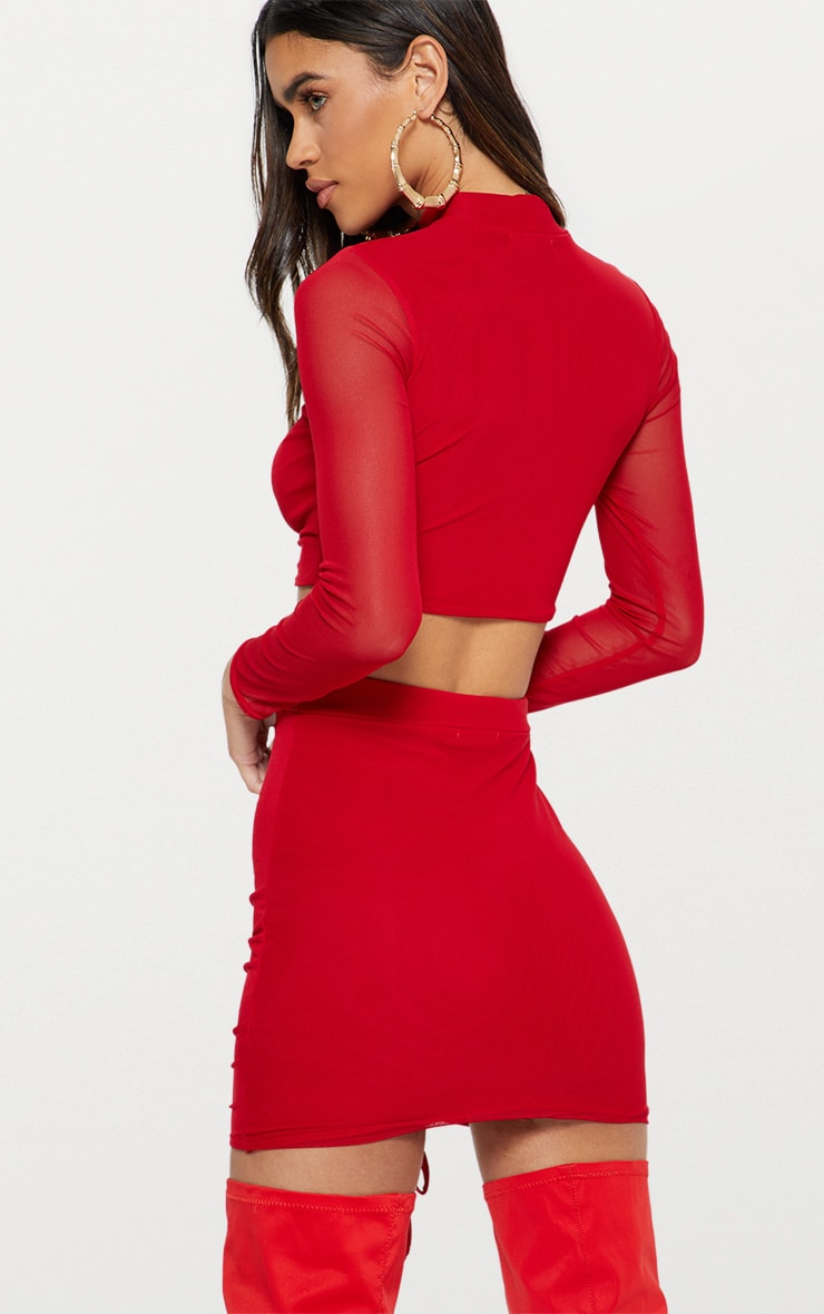 Red Mesh Ruched Front Long Sleeve Crop Top 2