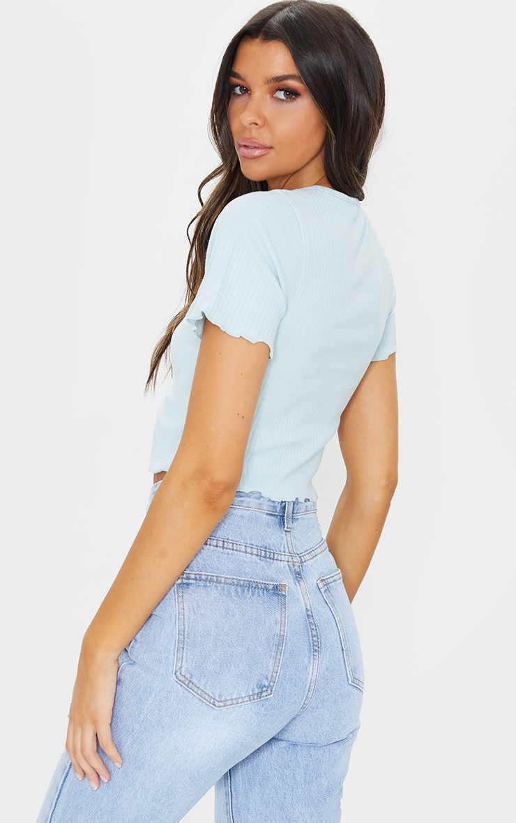 Baby Blue Rib Lettuce Hem Clasp Fastened Crop Top 2