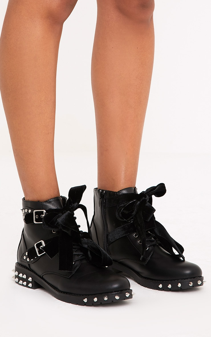 Black Studded Lace Up Ankle Boots  3