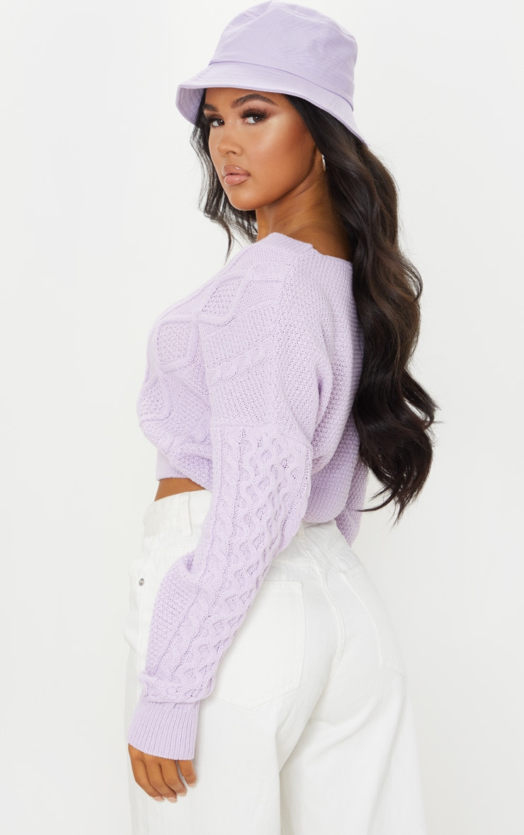 Lilac Cable Knit V Neck Crop Sweater 2