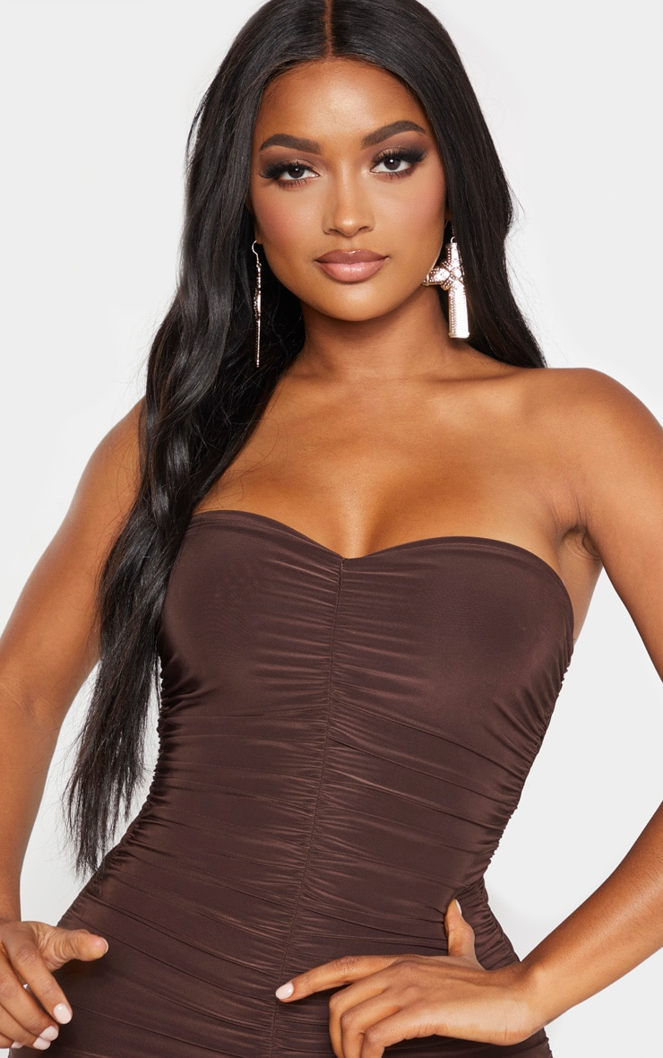 Shape - Robe bandeau longue froncée marron chocolat 5