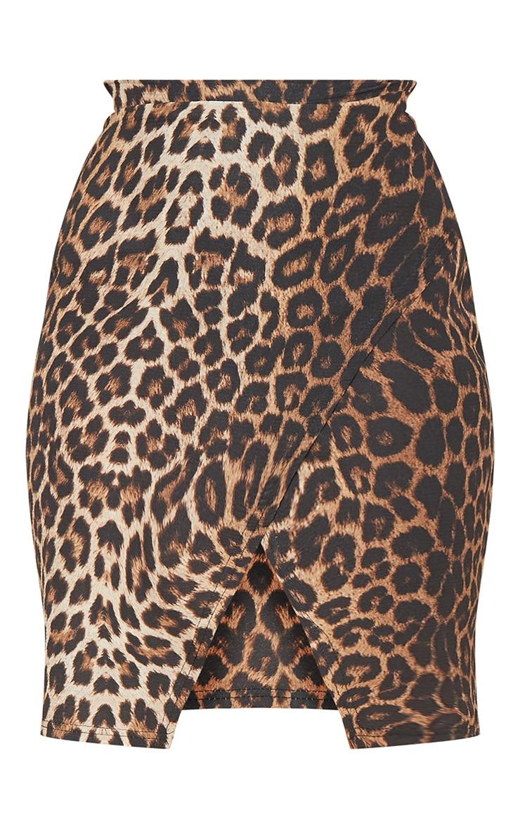Leopard Print Crepe Printed Wrap Skirt 3