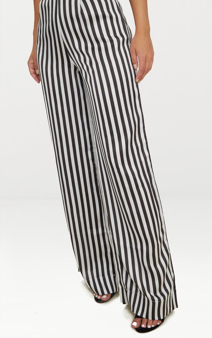 Petite White Striped Satin Wide Leg Trousers 5