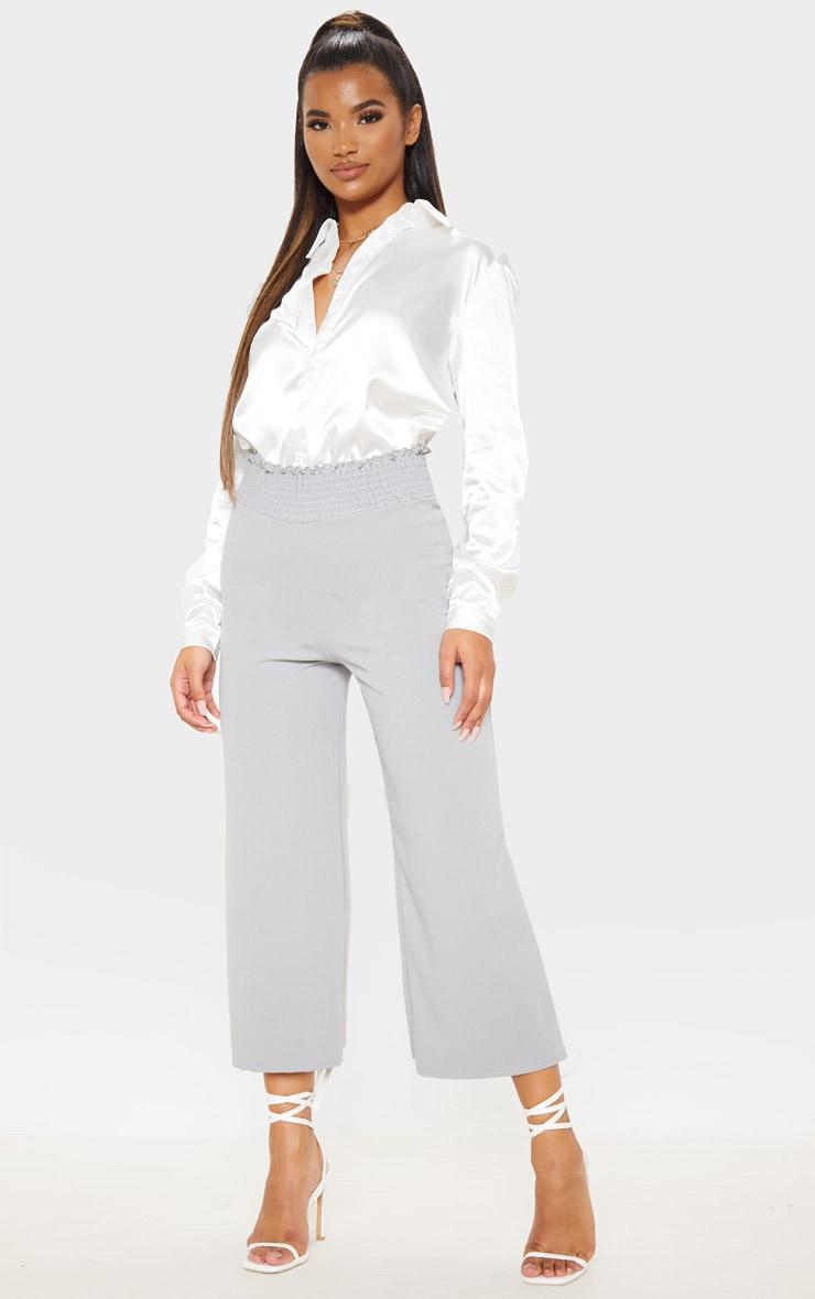 Grey Crepe Shirred Waist Wide Leg Culotte 1