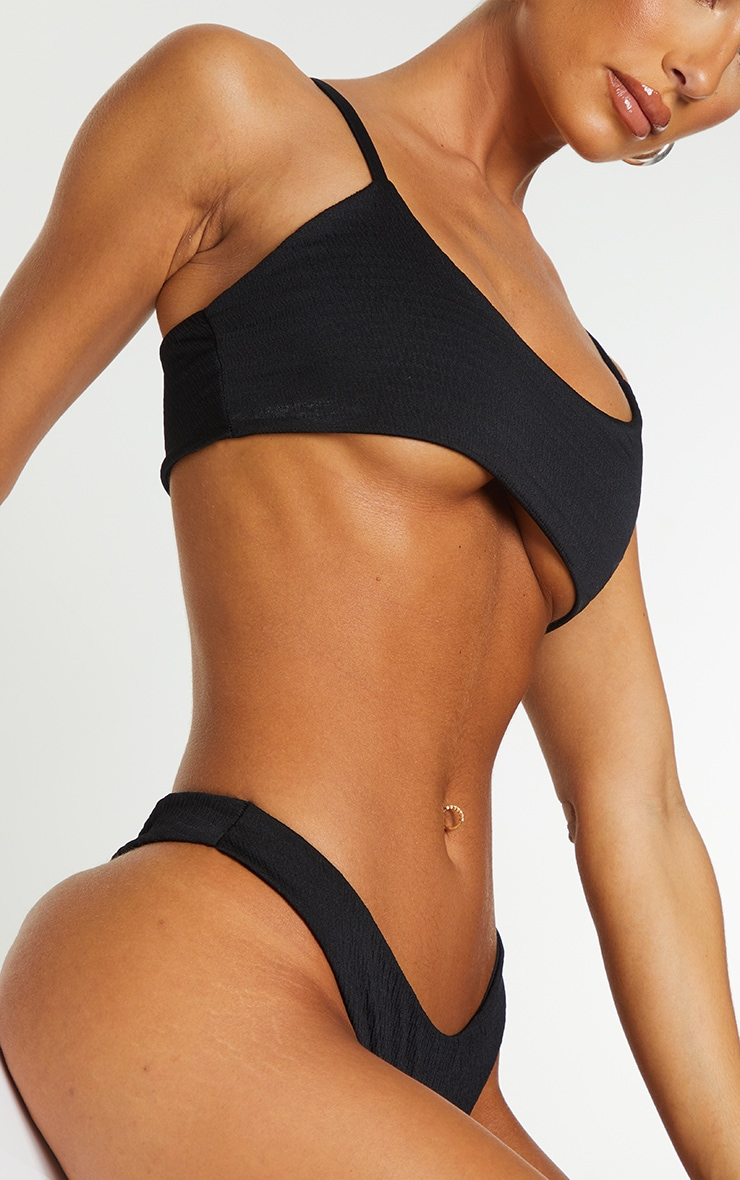 Black Crinkle Scoop Neck Bikini Top 4