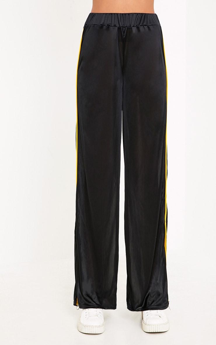 Karlotta Black Sheer Zip Wide Leg Track Pants 2