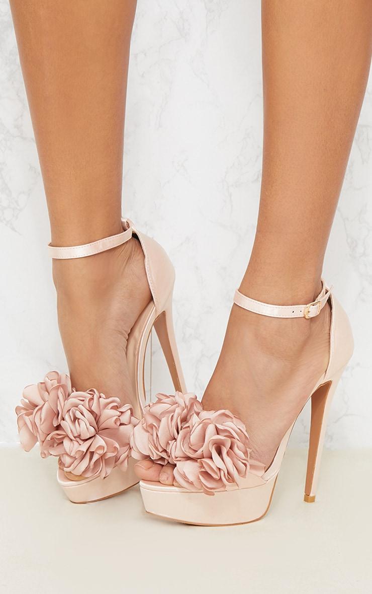 Champagne Ruffle Flower Platform Heel Shoes Prettylittlething Aus
