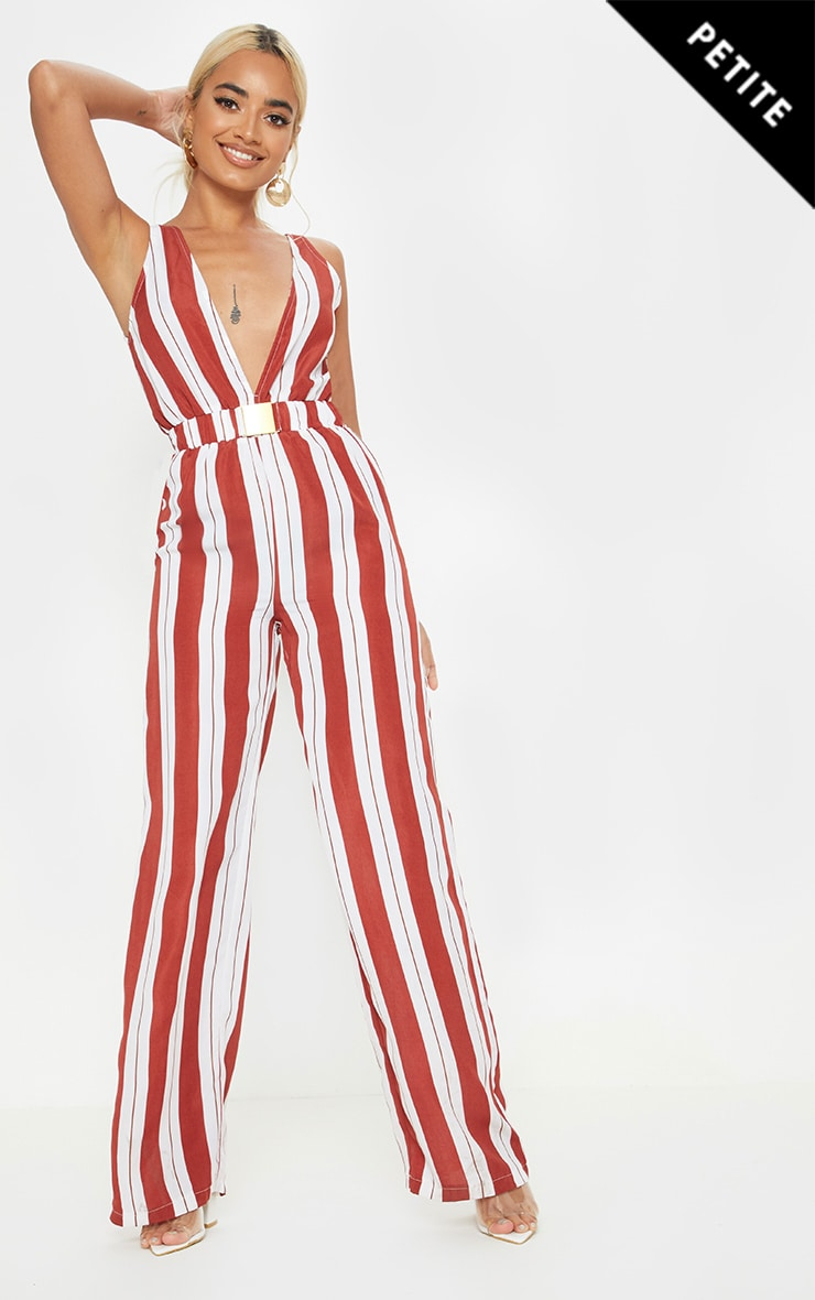 Petite Rust Striped Buckle Belt Detail Jumpsuit 1