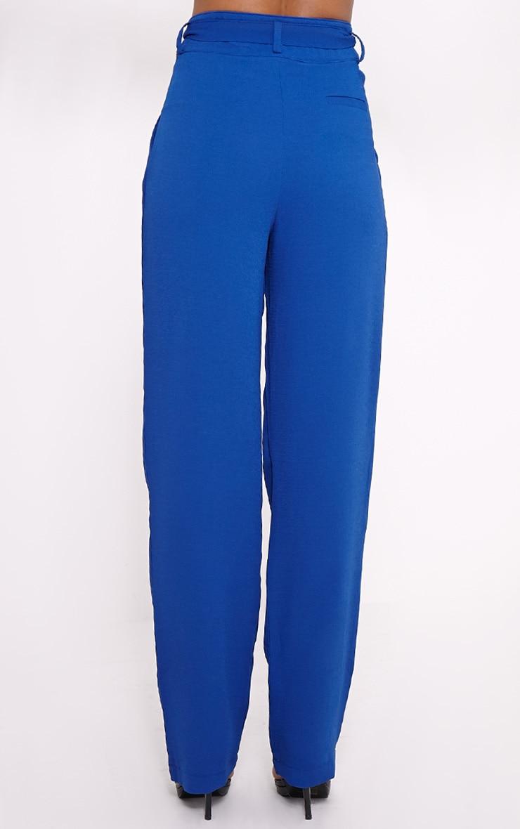 Elizabeth Cobalt Wide Leg Crepe Trousers 4