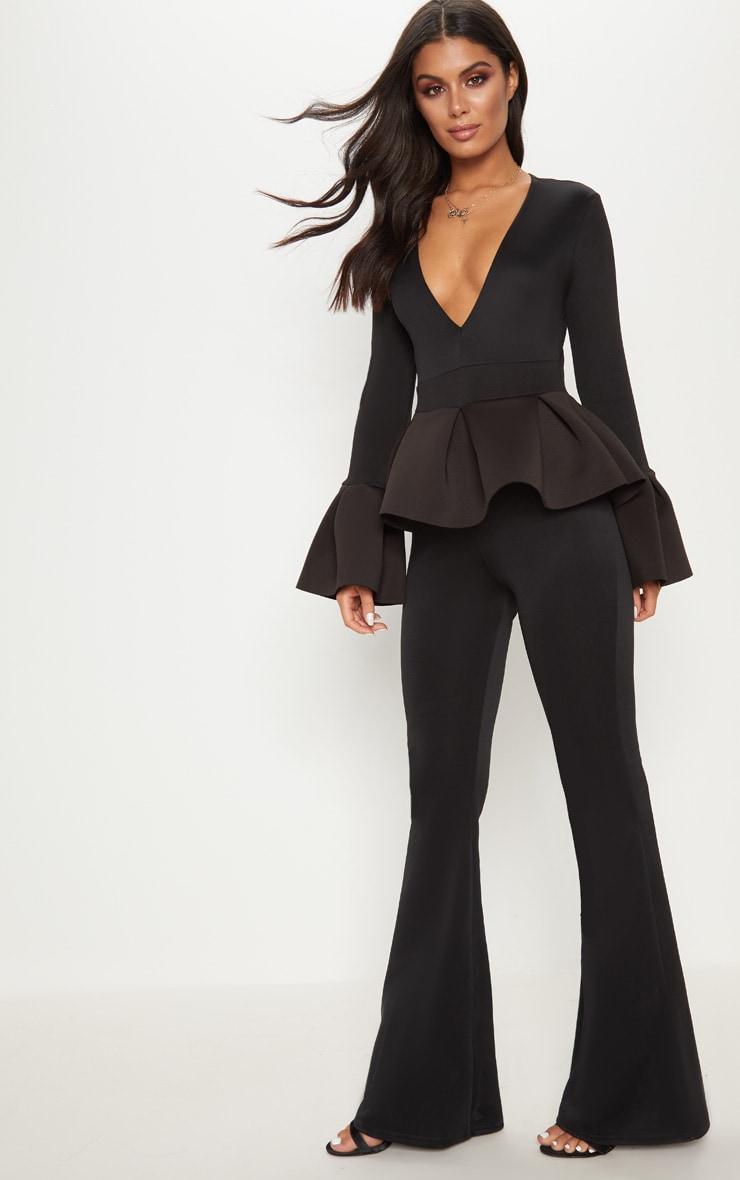 Black Frill Sleeve Peplum Jumpsuit 4