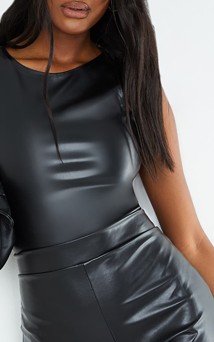 Tall Black PU Racer Bodysuit 4