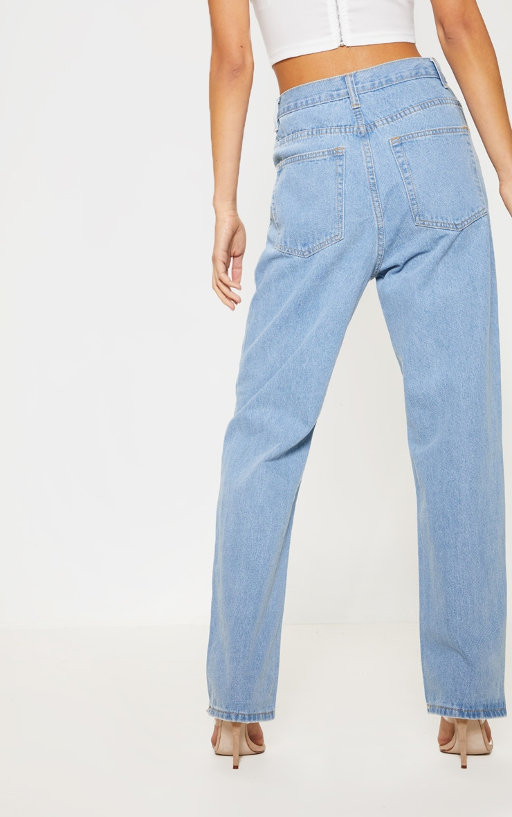 Light Wash Zip Front Jeans 4