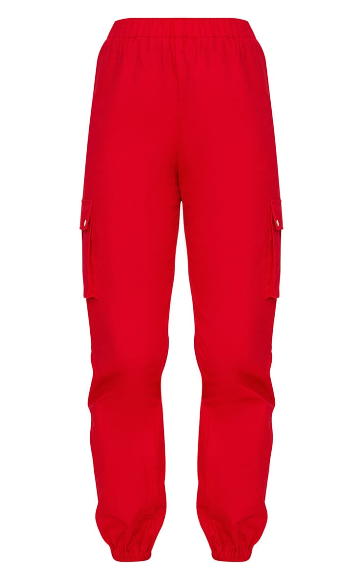 Red Pocket Detail Cargo Pants 3