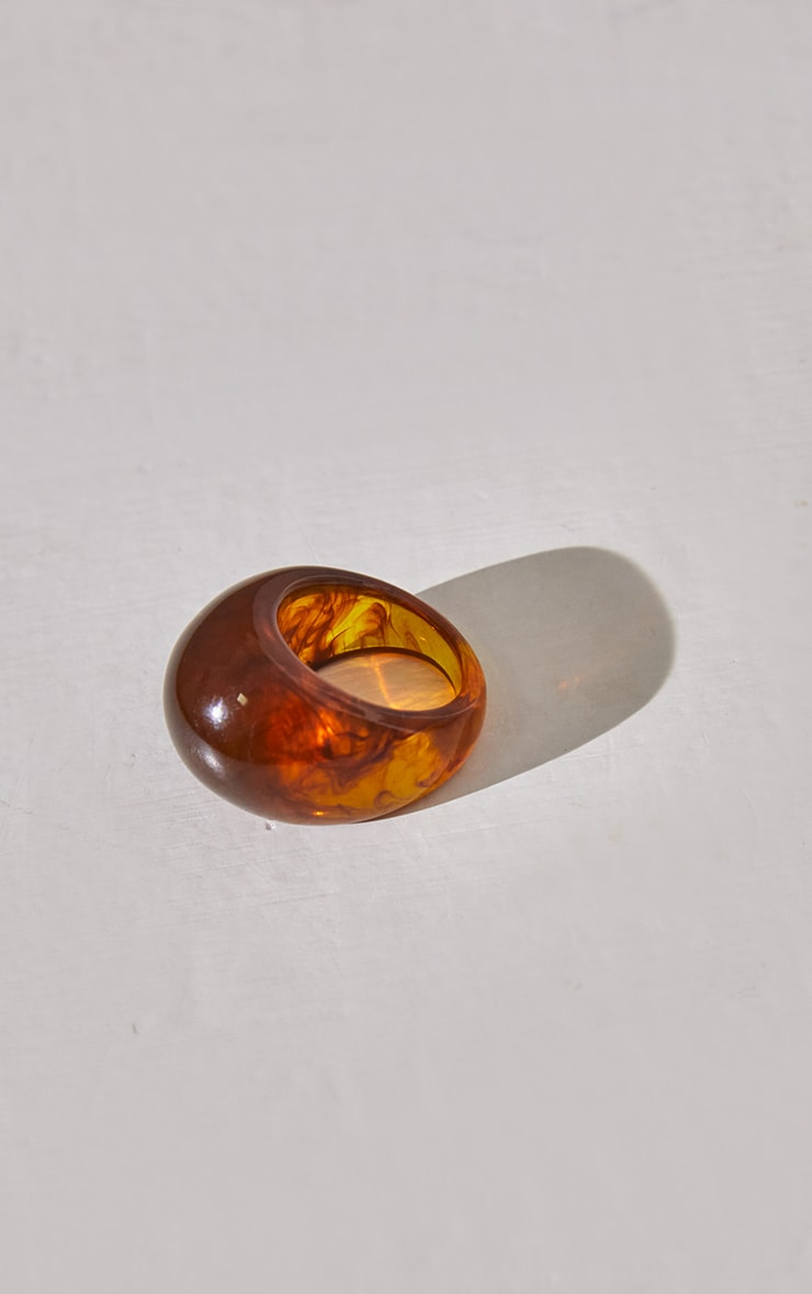 Chocolate Marble Chunky Resin Ring 2