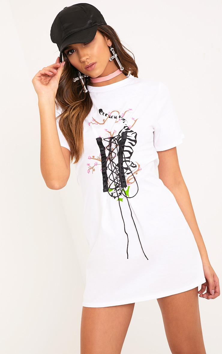 Tiger Print White Corset T Shirt Dress  1