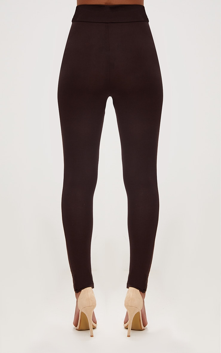 Chocolate Brown High Waisted Jersey Leggings 4