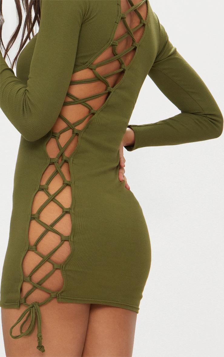Olive Rib Long Sleeve Lace Up Back Bodycon Dress 3