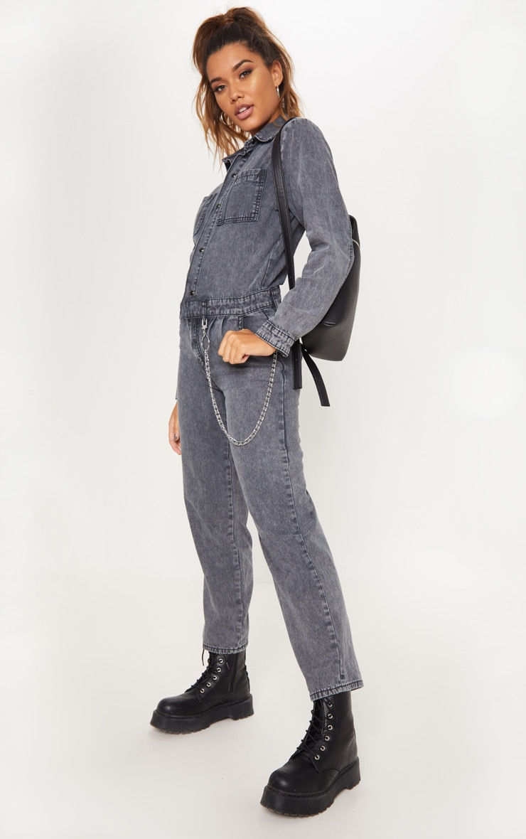 Black Acid Wash Boilersuit
