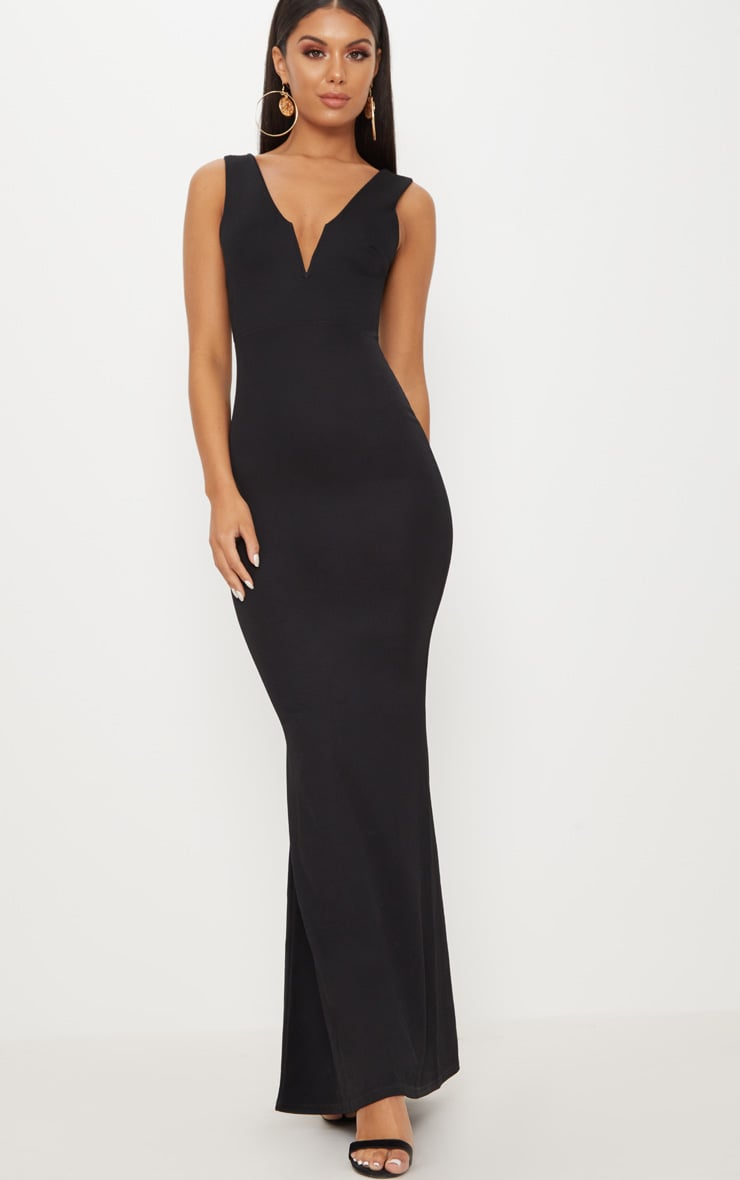 Black V Bar Plunge Maxi Dress 1