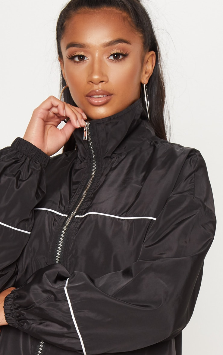Petite Black Longline Zip Front Shell Jacket 5