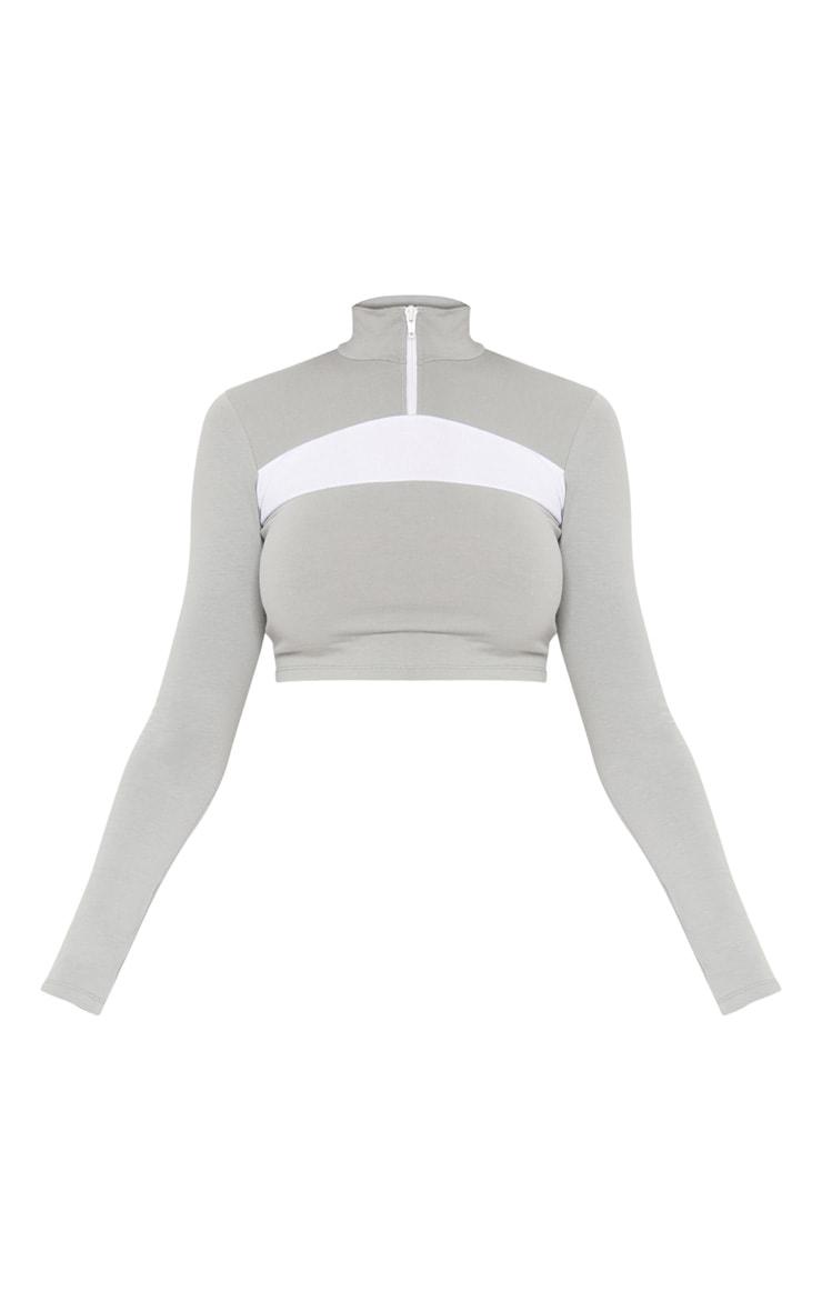 Grey Contrast Zip Front High Neck Long Sleeve Crop Top 3