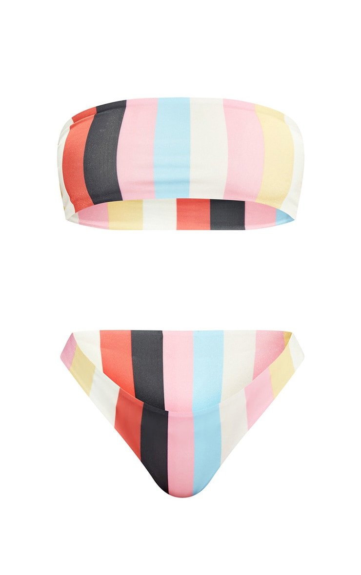 Multi Stripe Bandeau Bikini Set 3