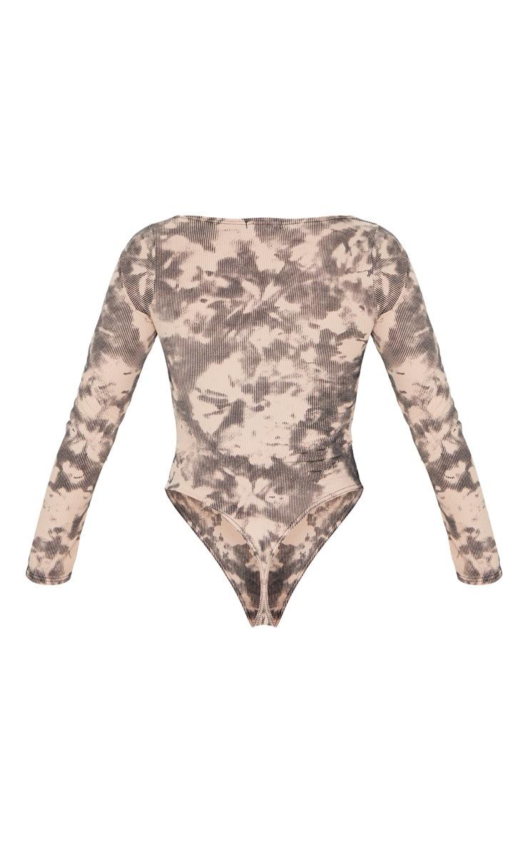 Nude Tie Dye Printed Rib Cup Long Sleeve Bodysuit 6