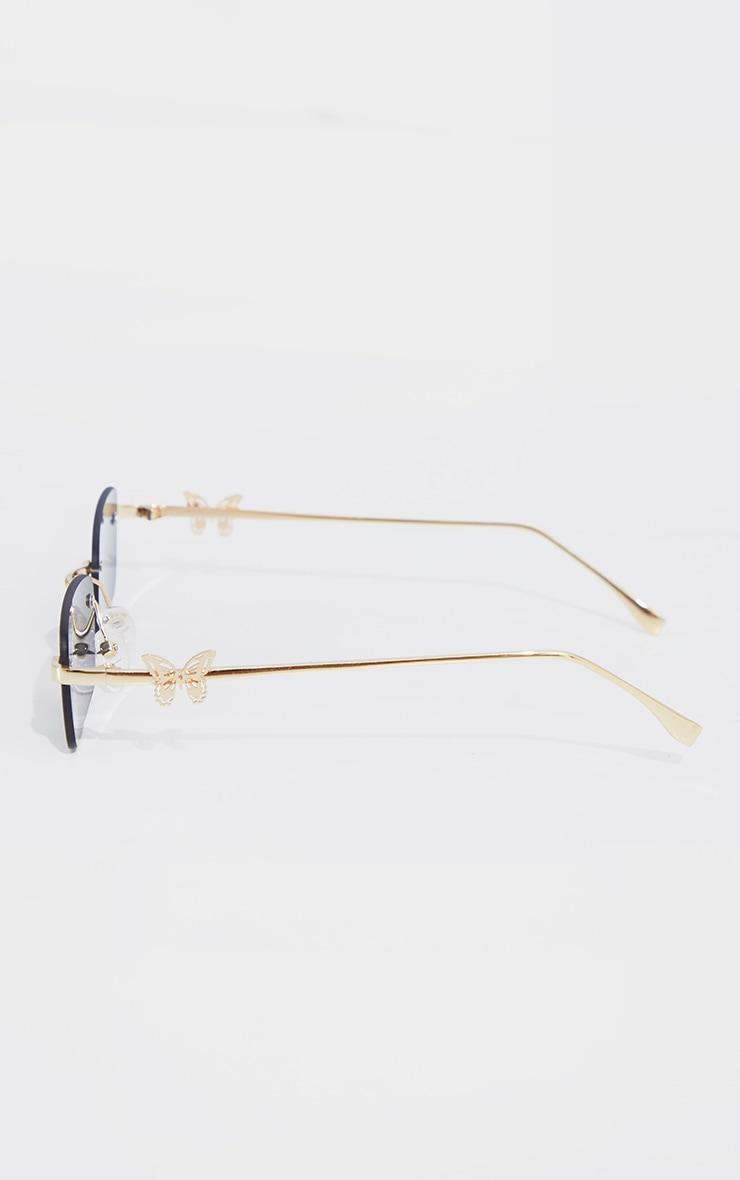 Gold Frame Black Lens Butterfly Sunglasses 4
