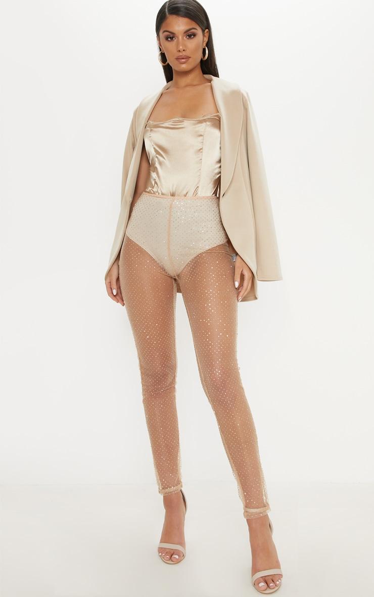 Nude Glitter Detail Mesh Skinny Legging by Prettylittlething